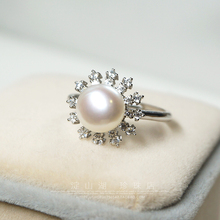 Women Gift word 925 Sterling silver real Dianshan Lake Pearl shop Aurora flawless full oblate freshwater pearl ring S925 Sterlin