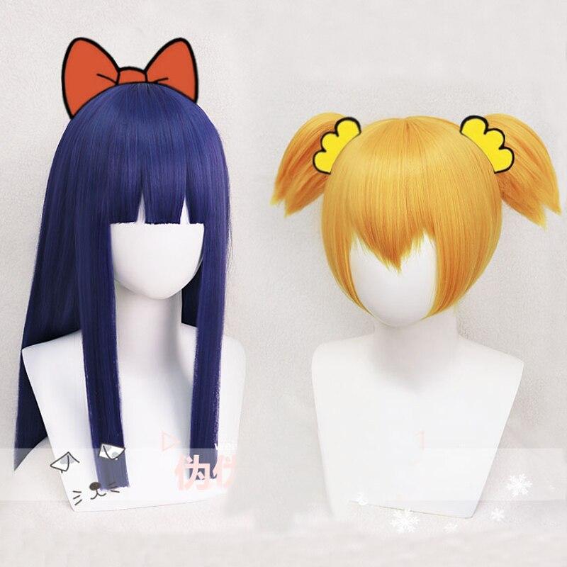 Поп-команда EPIC Popuko 28 см короткие золотистый блондин хвост Pipimi 60 см длинный синий парик термостойкие Косплэй костюм волос ...