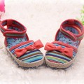 Summer Chinese Style Infant Baby Kids Striped Bow Decor Crib Canvas Shoes Toddler Anti Slip Comfort Shoes First Walker