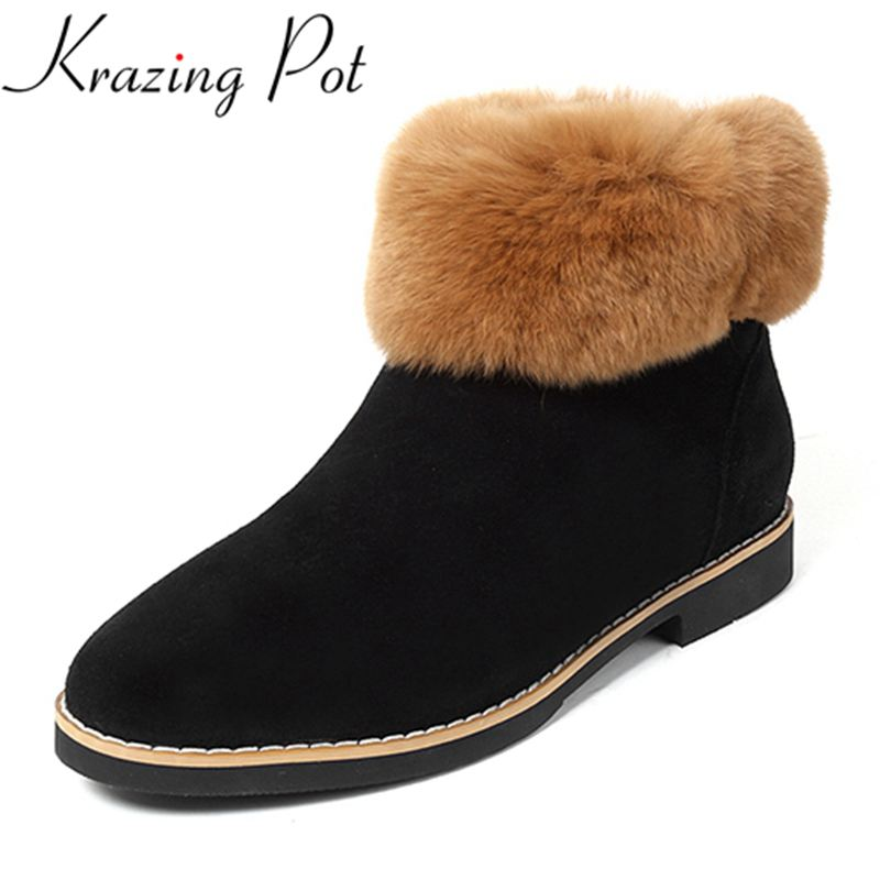Krazing Pot fashion thick heel round toe superstar cow suede keep warm winter boots runway zipper handmade sweet ankle boots L14 krazing pot big szie cow suede slip on thick heel tassel bowtie winter pointed toe fashion superstar runway ankle boots l5f1