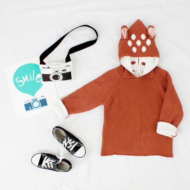 Baby Sweater Fashion Cute Deer Ear Design Sweaters Cardigan Girls