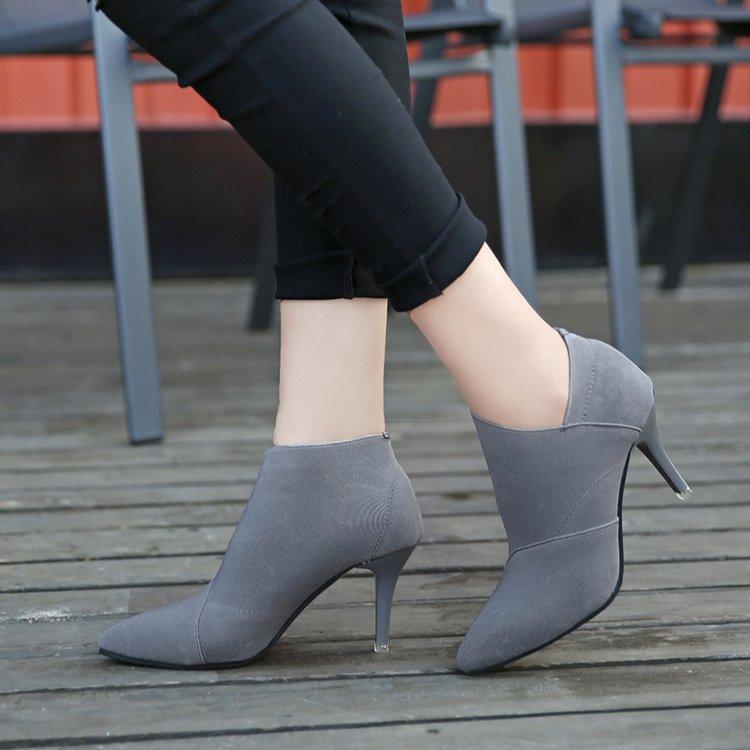 2018 Frauen Schuhe Slip-on Retro High Heel Stiefelette Elegante Schwelle England Beiläufige Kurze Stiefel Weiblichen Spitz Stöckelschuhe