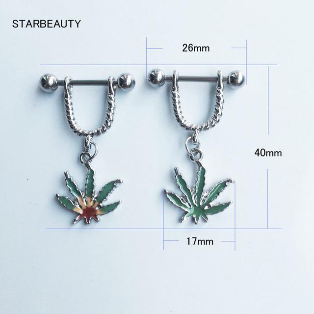 1 Pair 316L Stainless Steel Green Leaf Nipple Rings