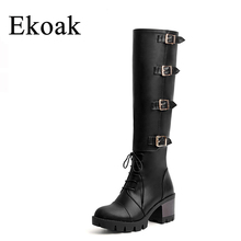 Ekoak Autumn Boots New 2016 Fashion Knee High Boots Women Leather Boots Buckle Zip High Heels Platform Shoes Woman Long Boots