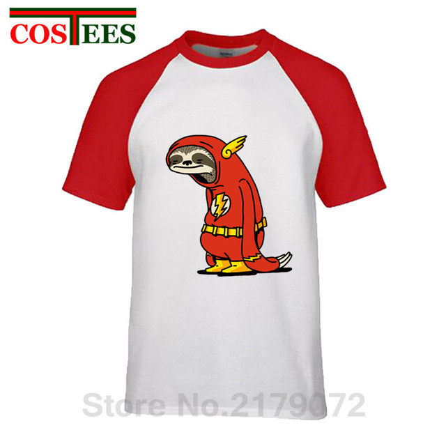 f0fa52092 Funny Sloth The Flash T shirts men The Neutral T-shirt male super hero Red Sloth  tshirt harajuku Tops 100% cotton Tees camisetas