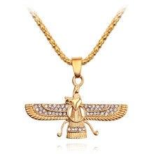 Hip Hop Rhinestone Paved Bling Iced Out Iran Faravahar Ahura Mazda Zoroastrian Pendant Necklace Gold Men Jewelry
