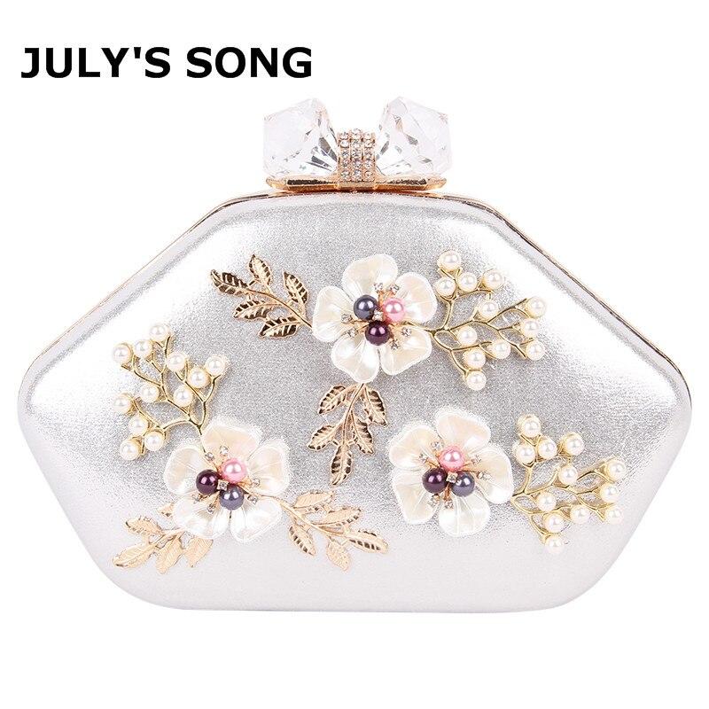 2018 Femmes Floral de Soirée D'embrayage Sacs Dames Jour Embrayages Rétro Perlée Perle De Mariage Parti Sac Femmes Blanc Épaule Sac