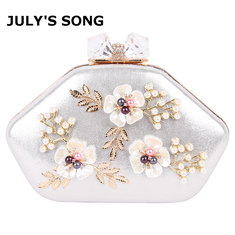 2018 Women Floral Evening Clutch Bags Ladies Day Clutches Retro Beaded Pearl Wedding Party Bag Women White Shoulder Bag women evening clutch bag diamond tassel pearl dress bag ladies hand bag women shoulder bags crossbody for party day clutches