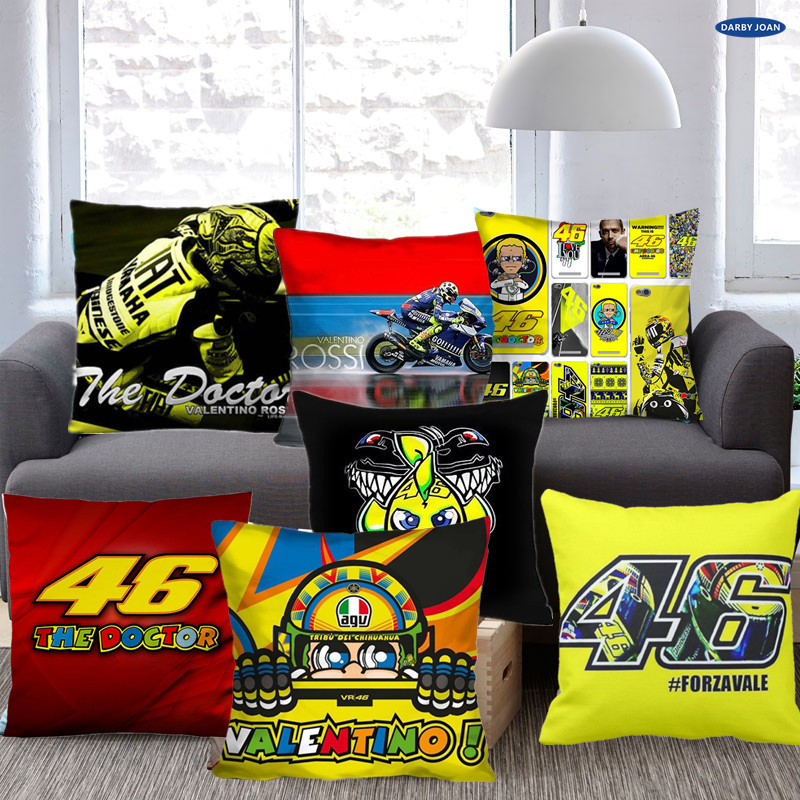 VALENTINO ROSSI 46 Decorative Pillow Case Cushion Luxury Printing Nice Throw Pillow Case Chair Seat Pillowcover