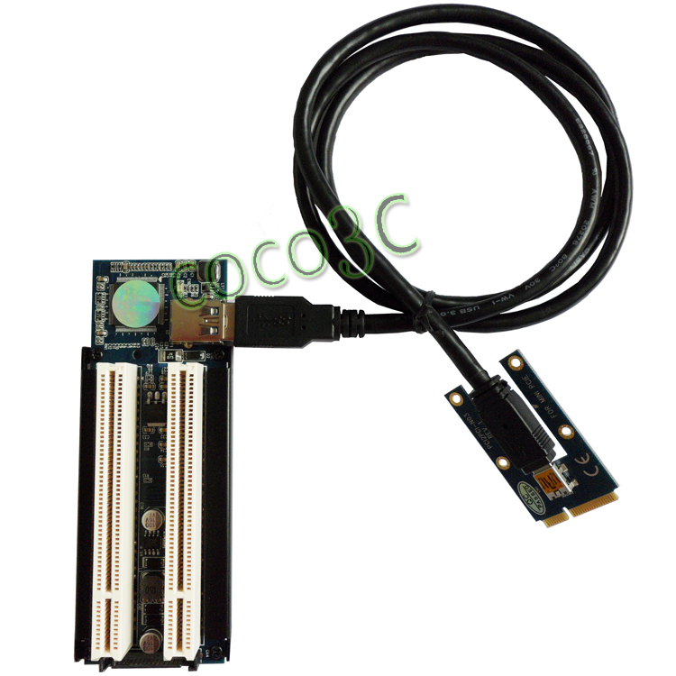 цены Half-size / Full-size Mini PCIe To 2 PCI 32bit slots adapter mini pci-e riser card for PCI Sound Card Network card graphics card