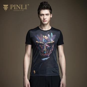 Pinli 2020 Summer New Top Sale O-neck Cotton Print Slim Elastic Casual Men Short Sleeve T-shirt Fashion Cool Boy B172111105