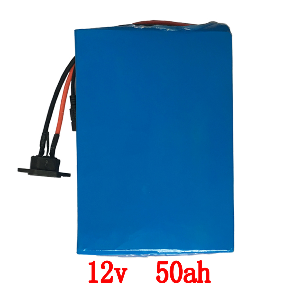 500W High capacity 12V 50AH lithium battery pack 12V 50000MAH rechargeable battery with 12.6V 5A charger 30A BMS free shipping free shipping 50a discharge rate lithium battery 48v 50ah 18650 rechargeable li ion battery pack with 2000w bms and charger