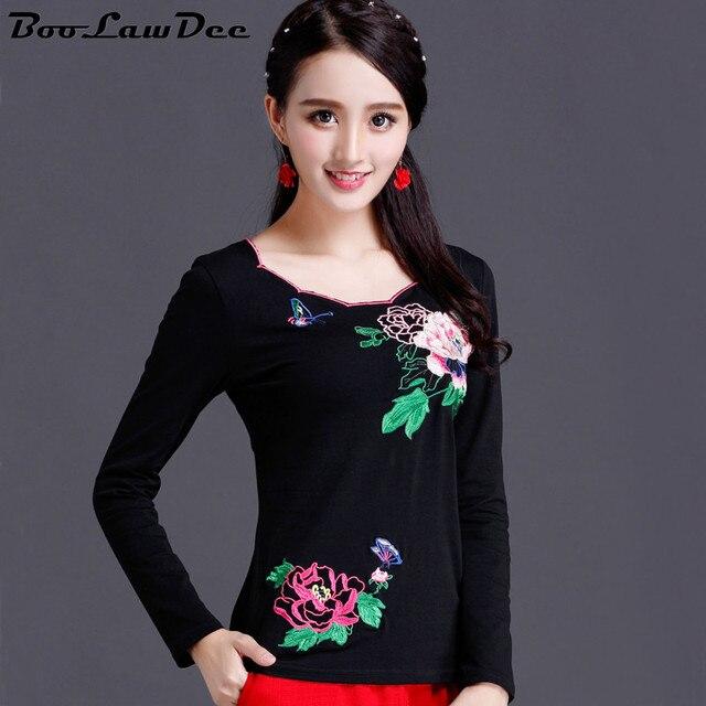 BooLawDee осень женщина вышитые цветочные рубашка плюс размер хлопок полный рукавом Китайский стиль топ женский черный белый М до 5XL 1I225