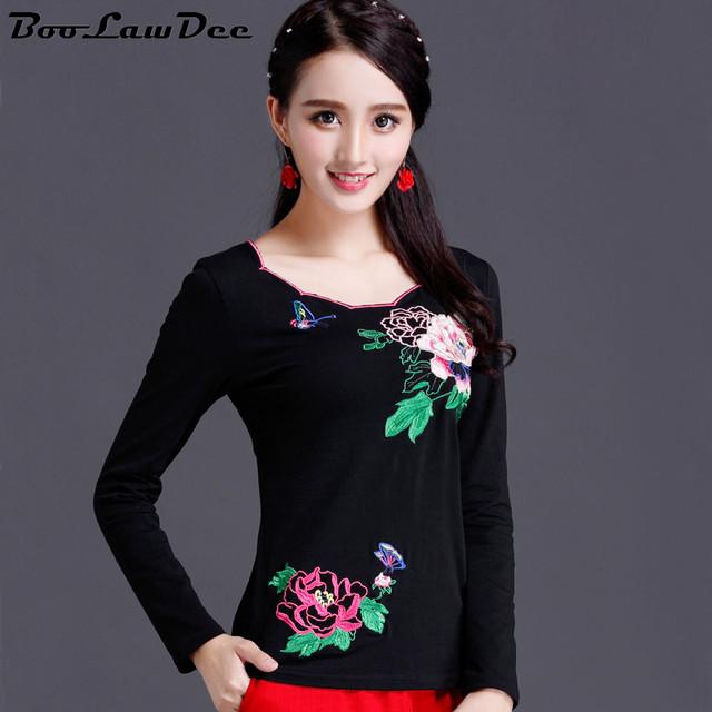BooLawDee mulher outono bordado floral camisa de algodão plus size completo estilo Chinês de manga comprida topo fêmea preto e branco M para 5XL 1I225