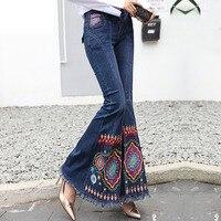 Новый Для женщин вышитые джинсы середины талии эластичные тонкие синий Бисер расклешенные джинсы клеш