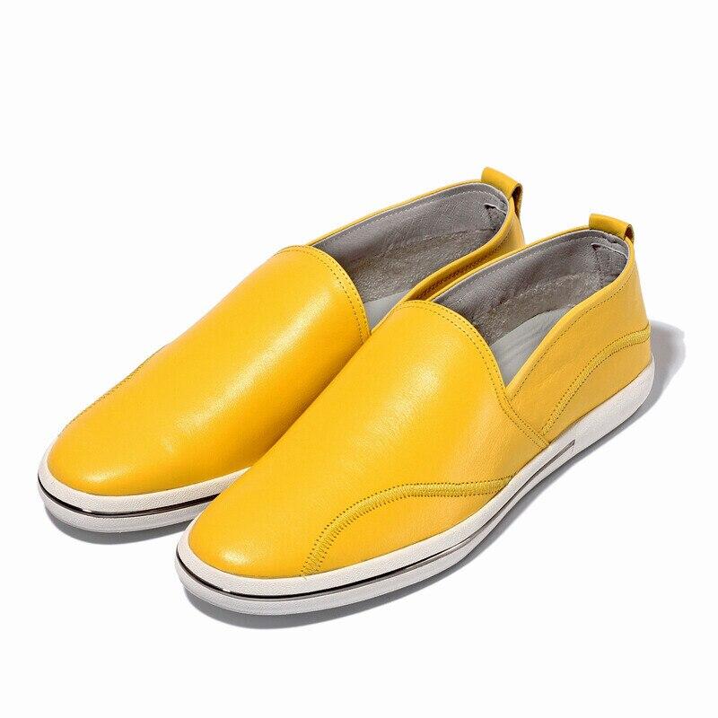 orange De Mocassins Primavera Grãos white Sapatos Homem Homens Couro Slip Grão Casual Cheia yellow on Barco Ter Black Cheio Deve Condução UEqw5zn