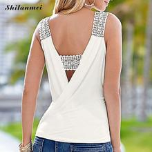 Elegant White Chiffon Tank Top Hollow Lace Patchwork Backless Tank Tops Summer Office Short Tops Sexy Camis Gauze Women Tank Top