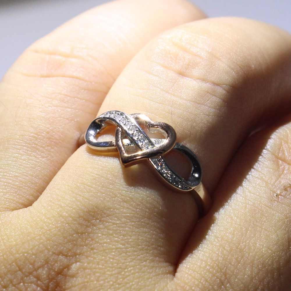 ใหม่มาถึงประกายหรูหราเครื่องประดับบริสุทธิ์ 100% 925 เงินสเตอร์ลิง Pave AAA เซอร์โคเนียแยกหัวใจสีทองแหวนแต่งงานแหวนของขวัญ