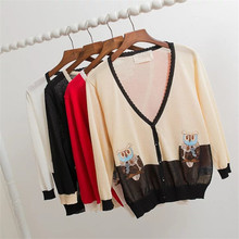 The new summer clothing wholesale 16 V collar lace embroidery linen sweater female owl air conditioning