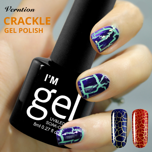 Crackle Nail Art Gel Lacquer 8ml Crack Shatter Uv Nail Polish Soak