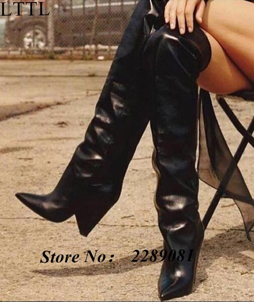 bc102c9cf5 2017 Winter Fashion Designer Women Glossed-leather Over-Knee Boots Cone  Heels Pointed Toe Long Booties Ladies Knight Boots