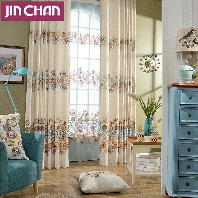 europese stijl geborduurde kamer verduistering gordijnen woonkamer de slaapkamer raam behandelingen panelen gordijnen