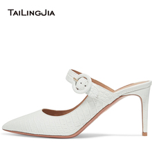 цена Pointed Toe High Heel Mules Women White Crocodile Pattern Pumps Wedding Dress Shoes Elegant Ladies Summer Heels Large Size 2018 онлайн в 2017 году