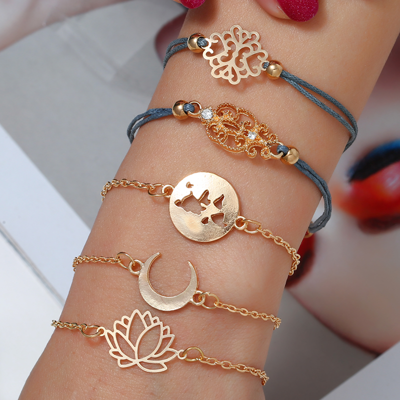 WNGMNGL 2019 Best Selling Explosion 5 set Grey Rope Flower Gold Moon Bracelet For Chain Women Bangles Female Jewelry Lady Gift in Charm Bracelets from Jewelry Accessories
