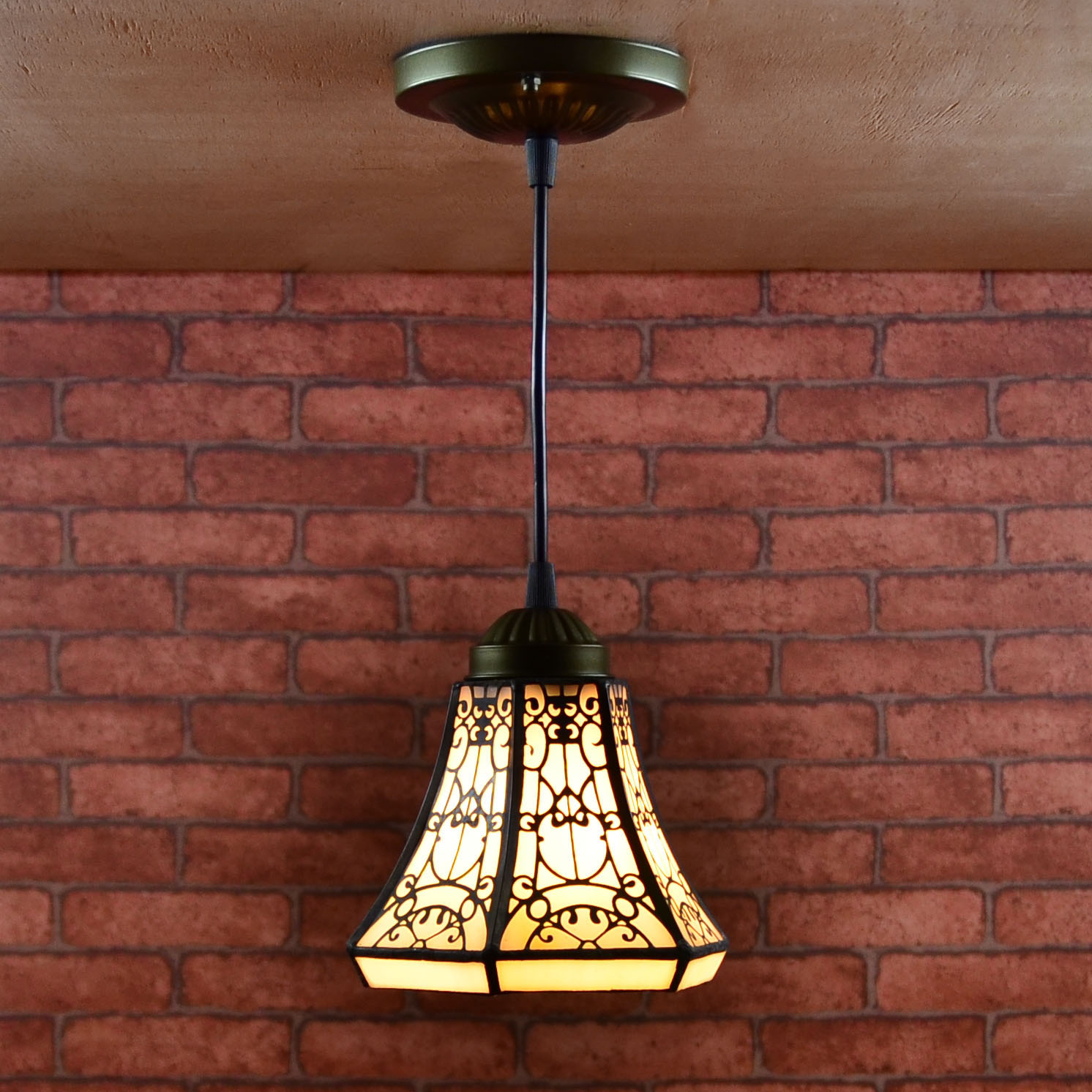 European tiffany style retro  stained glass pendant light balcony aisle porch corridor small bathroom hanging lamp fumat stained glass ceiling lamp european church corridor magnolia etched glass indoor light fixtures for balcony front porch