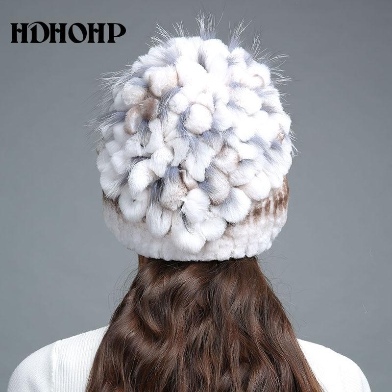 HDHOHR 2017 Nuevo invierno cálido sombrero de piel real para mujer - Accesorios para la ropa - foto 6