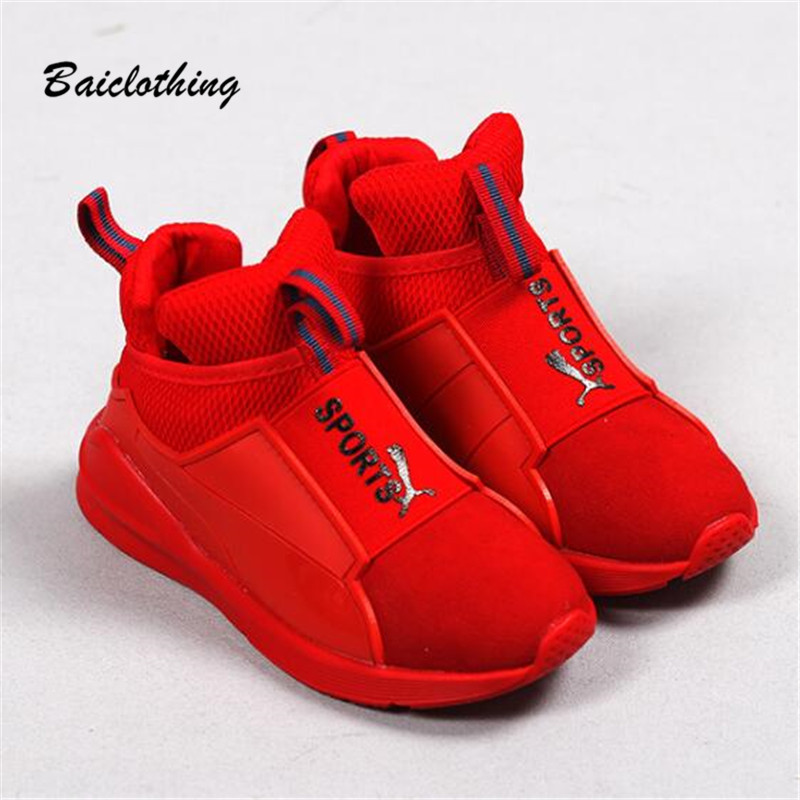 Children Sport Shoes Leather Boys Girls children good quality casual shoes Sneakers black Red color Comfortable Kids Flats Shoes