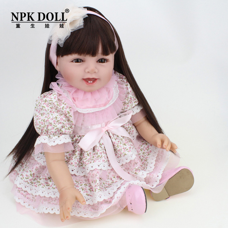 NPK reborn Dolls Real Baby Silicone Reborn doll 22 Inch Long Hair wigs Girls Dress bebe alive boneca reborn realistaNPK reborn Dolls Real Baby Silicone Reborn doll 22 Inch Long Hair wigs Girls Dress bebe alive boneca reborn realista