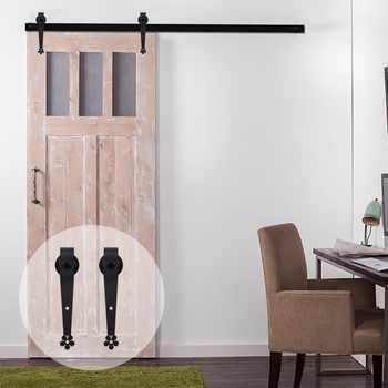 LWZH Antique Style 10FT 11FT 12FT Sliding Wood Barn Door Steel Hardware Kit Black Plum Flower Shaped Rollers For Single Door