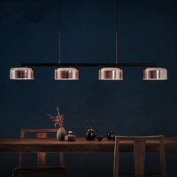 4 Heads Postmodern Rose Gold Dining Room Pendant Light Creative Rotatable Arms Italy Designer Hanging Lamp With Led Bulbs