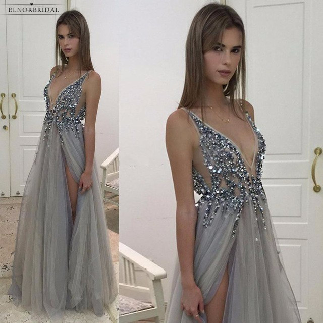Silver Beaded   Prom     Dresses   Long 2019 Deep V Neck Evening Gowns Gala Jurken Side Split Robe De Bal Longue Party   Dress