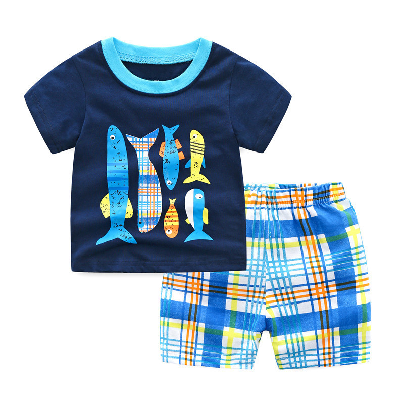 Baby boys girls new designed cartoon sets with printed some cute fish kids top quality summer clothing kids top brand sets 2018