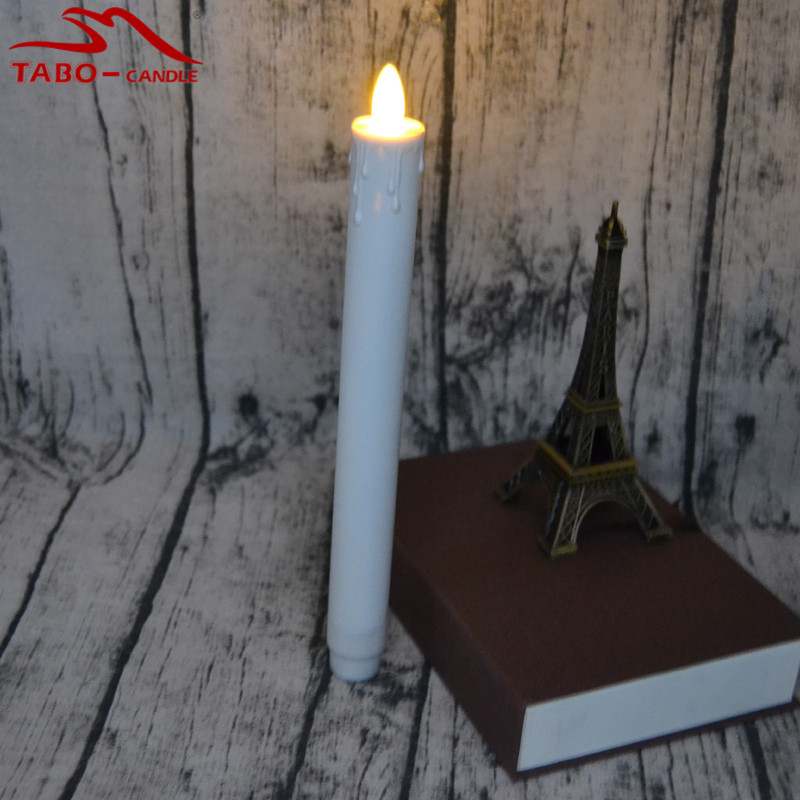 2aa battery not included 1pc flameless wax dripped moving wick led taper candle for indoor window christmas bar table decor