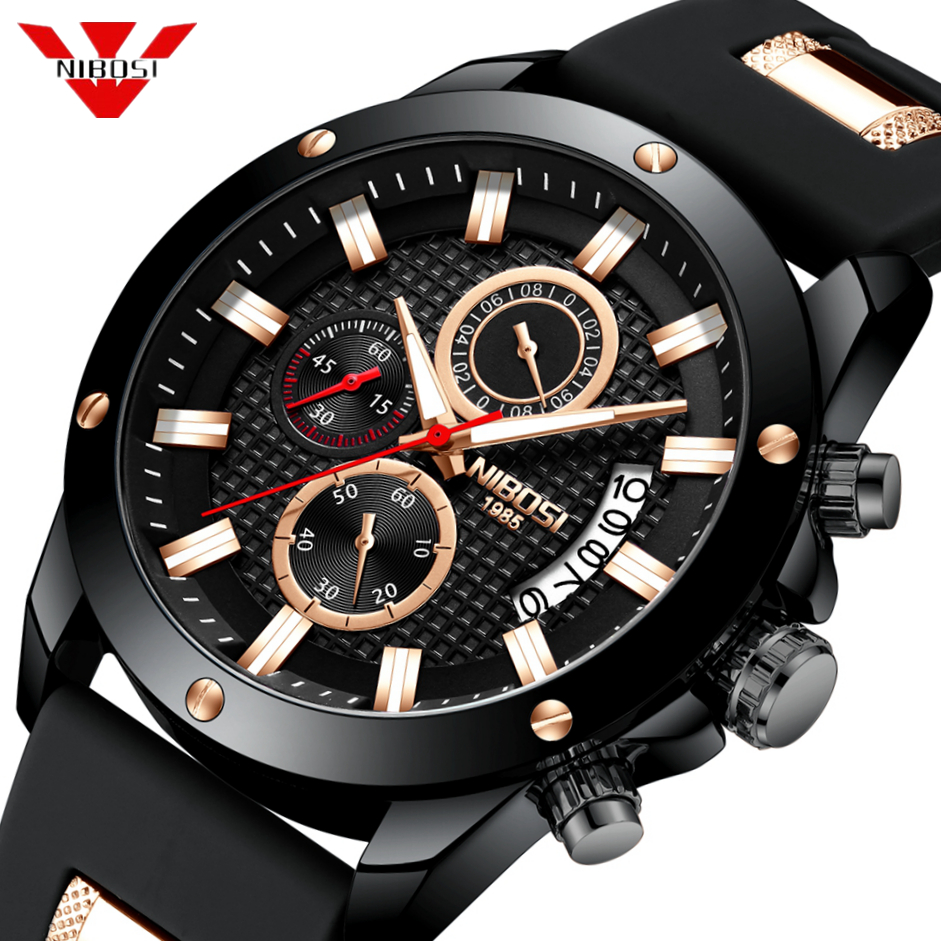 Ship From USA NIBOSI Men Quartz Watch Silicone Fashion Watches Waterproof Shockproof Man Sport Wristwatch Relogio Masculino