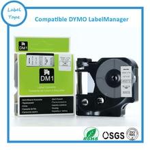 """6PK 12mm D1 Cartucho de Fita Preto no Branco para Eletrônico Os Fabricantes de Etiqueta, 1/2 """"w x 23 ft. (DYMO D1 45013) para impressora de etiquetas Dymo D1"""