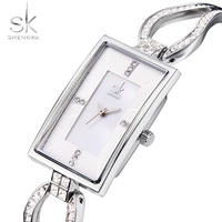 Shengke SK Luxury Silver Bracelet Watch Fashion Rectangle Women S Watches Shining Diamond Ladies Watch Women