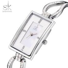 Shengke SK Luxury Silver Bracelet Watch Rectangle Women's Watches Top Brand Ladies Watch Women Watches reloj mujer montre femme