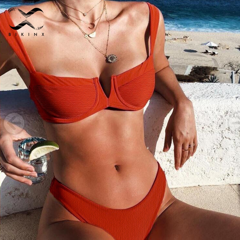 Bikinx Ribbed red bathing suit women bathers Deep v female swimsuit 2018 Push up sexy swimwear Micro bikini set high cut biquini 1