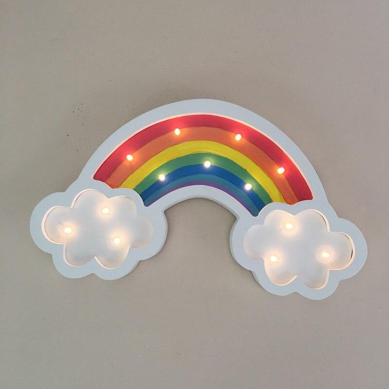 Мода Радуга светодиодный ночник Детский подарок настольная лампа прикроватная Спальня Гостиная деревянный Декор настенный светильник 80429