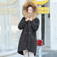 2017 ניו נשים החורף parka צווארון דביבון פרווה גדול סלעית 7 צבעים מעיל כותנה להאריך ימים יותר מעיל החורף ארוך שרוך עיצוב
