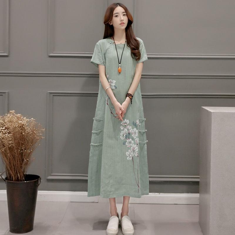 Cotton Linen Dresses New Summer Flax Printing Dress Female Short Sleeve Loose Dress Linen Dress