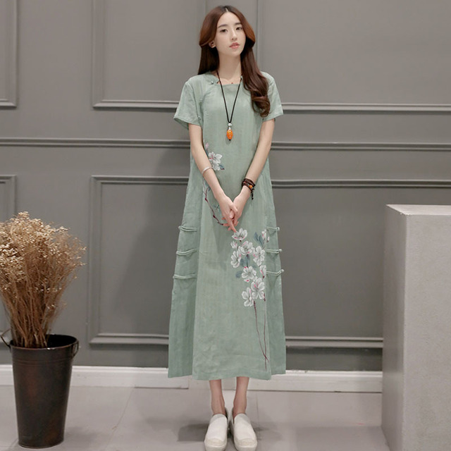 83060a6e61d93bc Хлопковые и льняные платья новое Летнее льняное платье с принтом женское с  коротким рукавом свободное платье