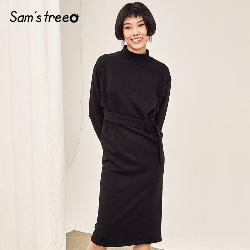Simple Noir Black Coton Femelle Taille Femmes Ceinture Roulé Automne Col Sheer Robe Samstree Hiver w7P6qwR