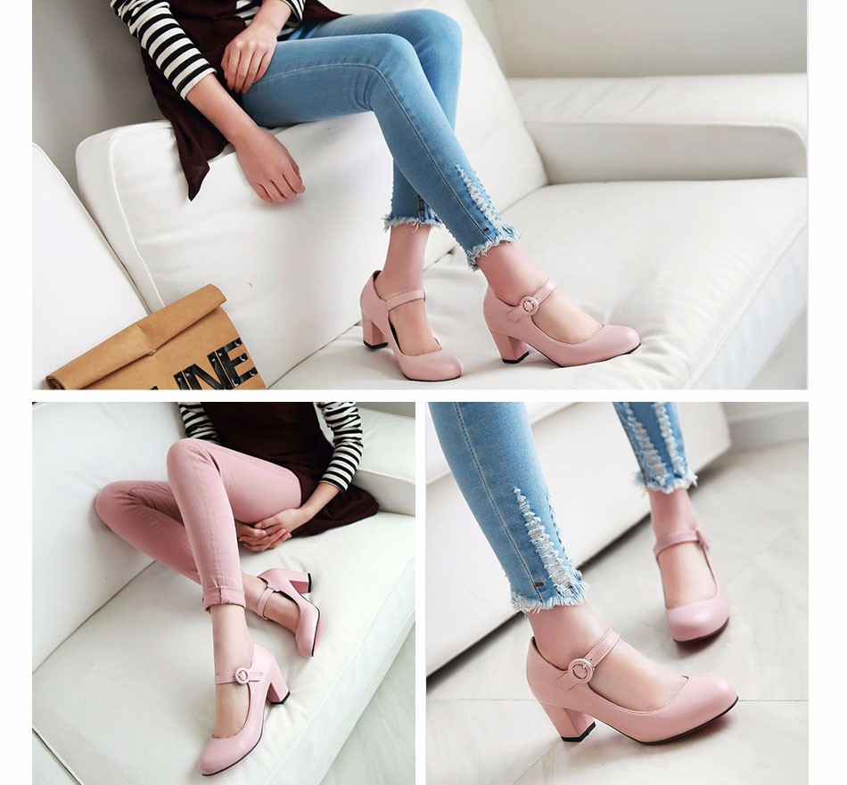 Meotina Women Shoes Mary Jane Ladies High Heels White Wedding Shoes Thick Heel Pumps Lady Shoes Black Pink Beige Plus Size 43 10 10