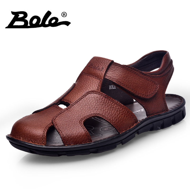 BOLE Beach Genuine Leather Summer Shoes For Men Sandals