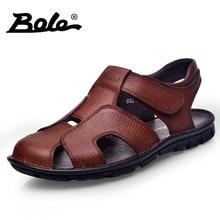 BOLE Nueva Llegada Hombres Sandalias de Playa Hecha A Mano Mocasines de Cuero Genuino Zapatos de Verano Para Los Hombres de Ocio Para Caminar Durable Sandalias Planas
